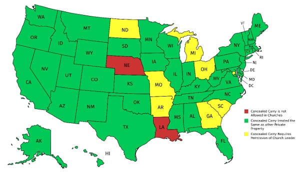 church concealed carry state map
