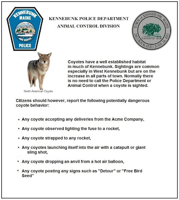 Kennebunkport PD coyote statement