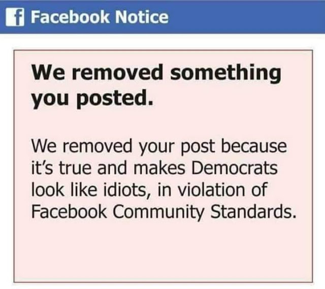 Fakebook removal message
